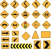 yellow road signs