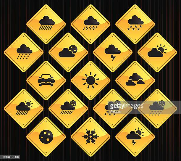 yellow road signs - weather - hailstone stock illustrations, clip art, cartoons, & icons