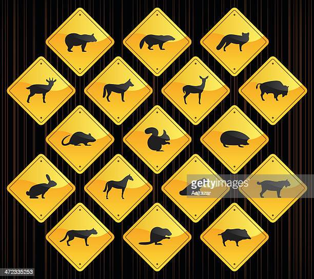 Yellow Road Signs - Wild Animals