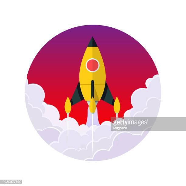gelbe rakete fliegt start konzept vektor - stapellauf stock-grafiken, -clipart, -cartoons und -symbole