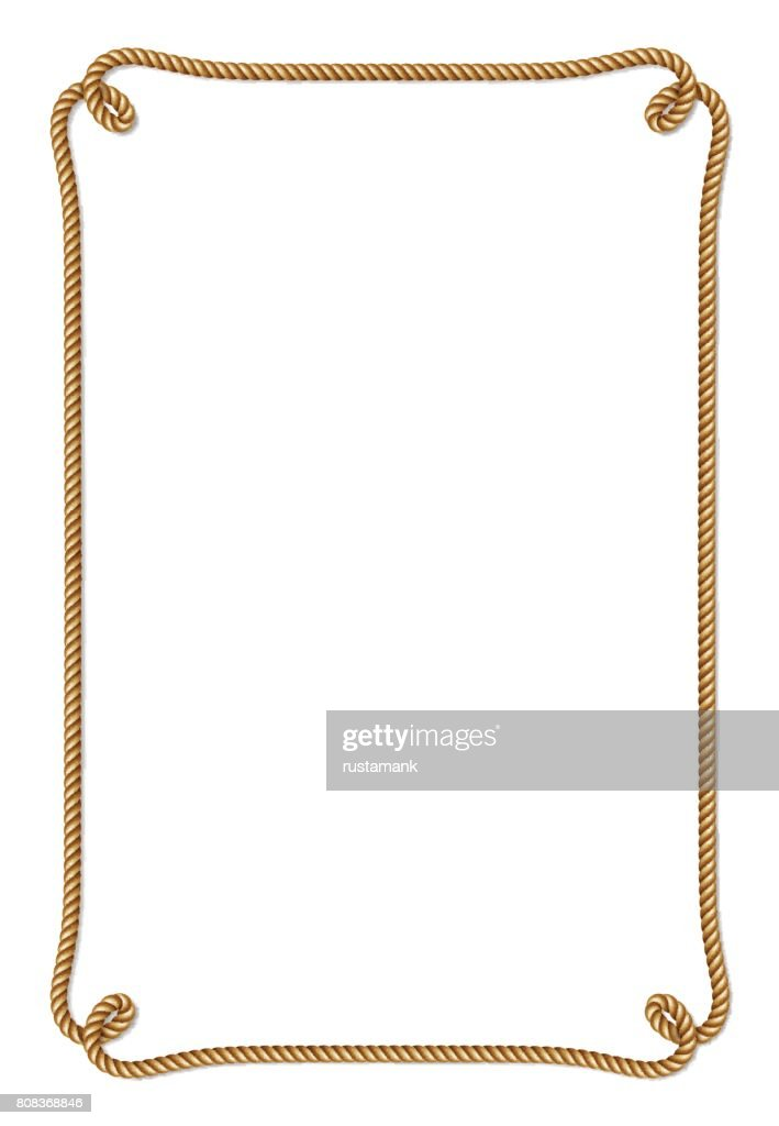 Yellow rope woven vector border with rope knots