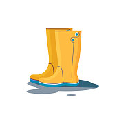 Yellow rubber boots. Vector illustration