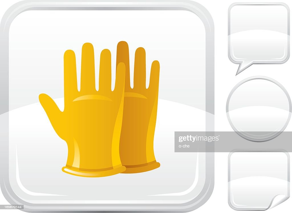 Yellow rubber gloves icon on a square