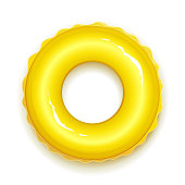 Yellow rubber ring for swiming in pool and sea