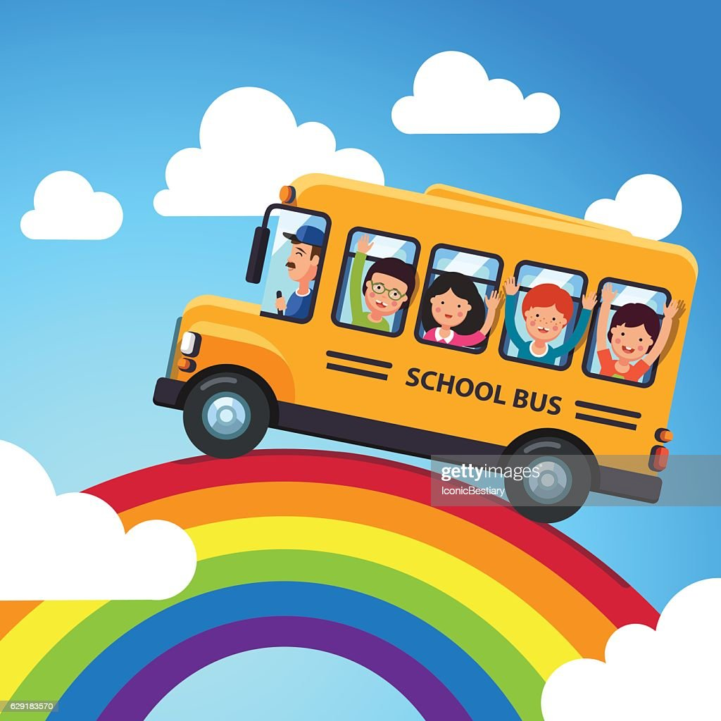 Yellow school bus with driver and kids