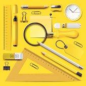 Yellow school supplies
