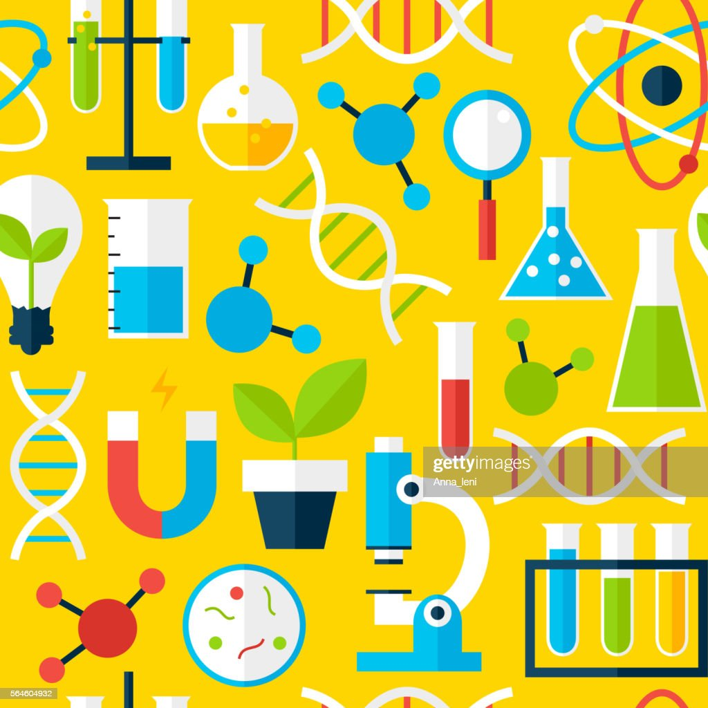 Yellow Seamless Pattern Science Education