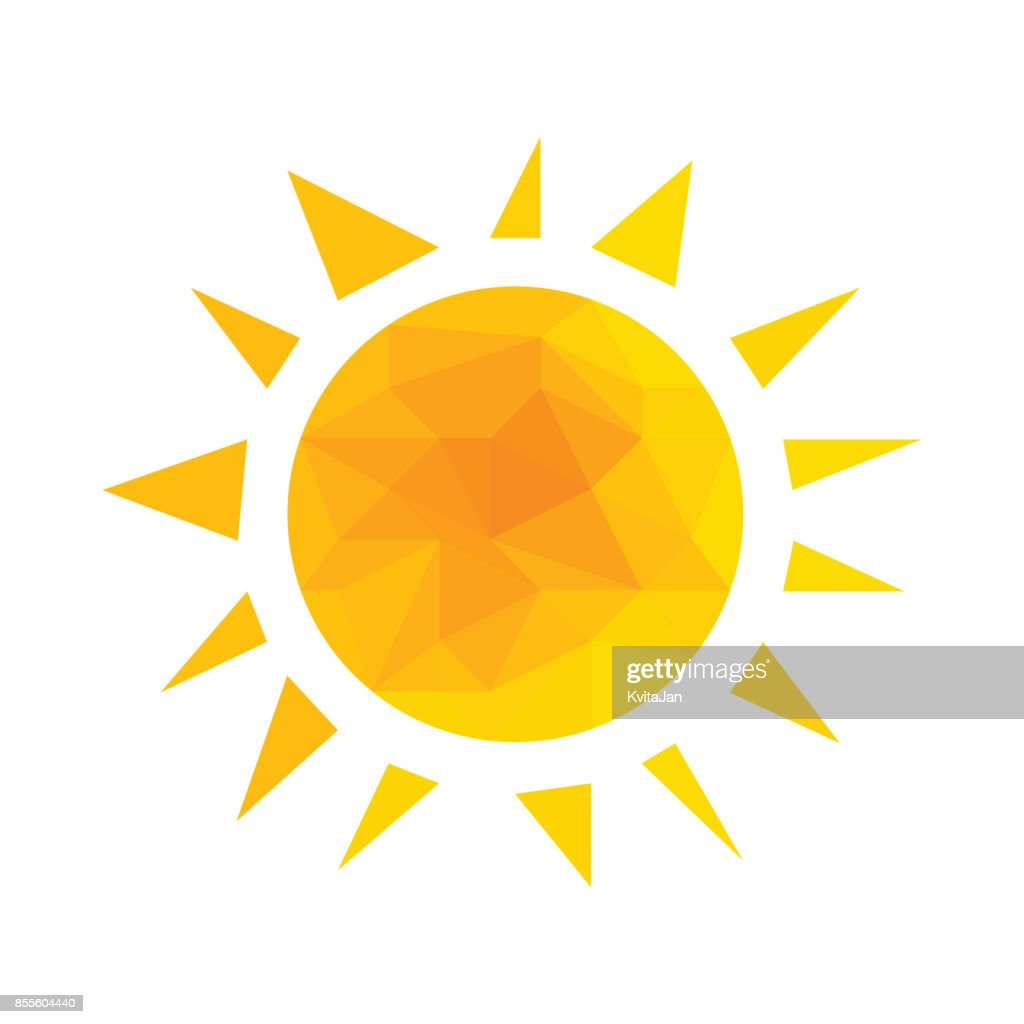 Yellow segmented geometric sun with rays vector.