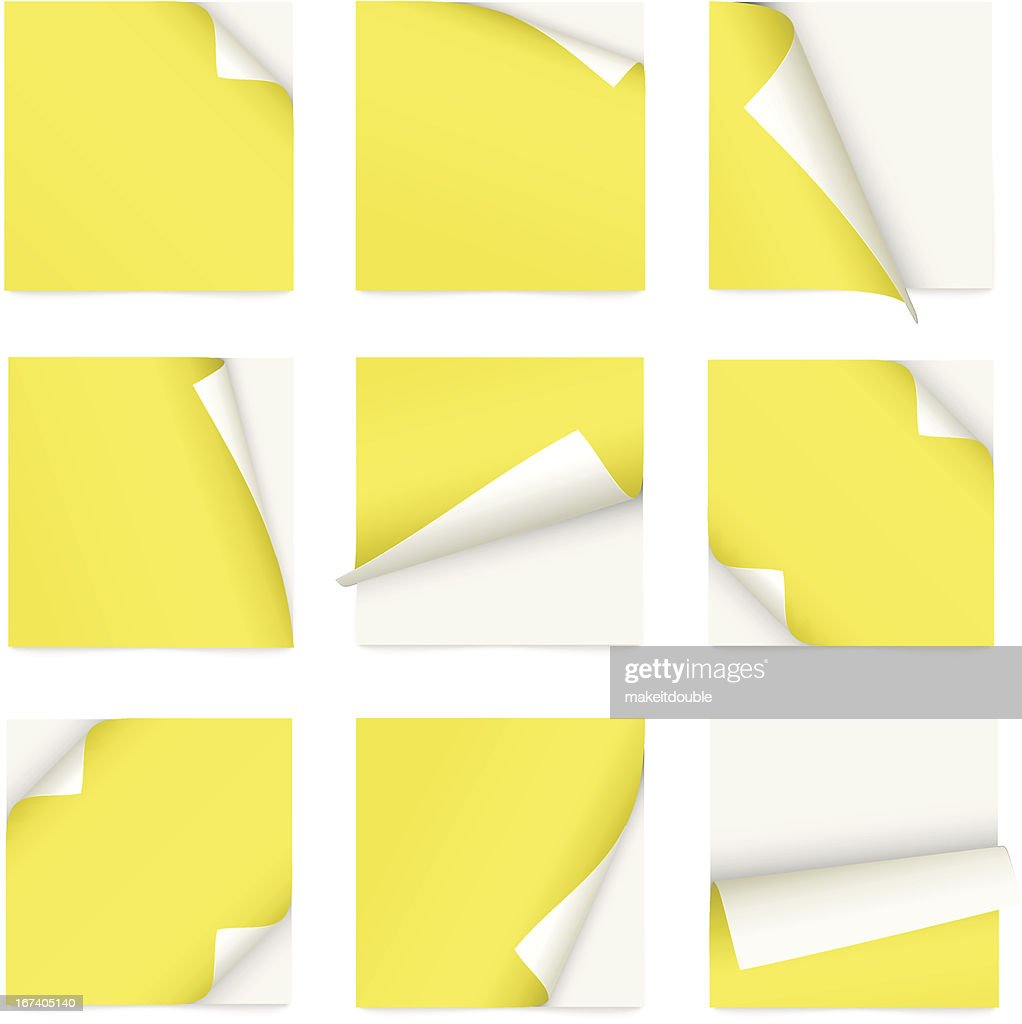 yellow set of note paper with curled corner : Vector Art