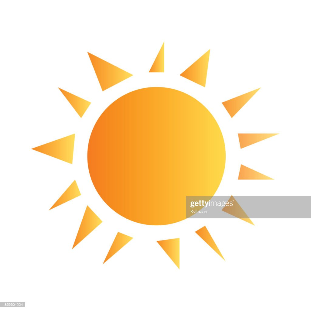 Yellow shaded simple sun with rays vector.