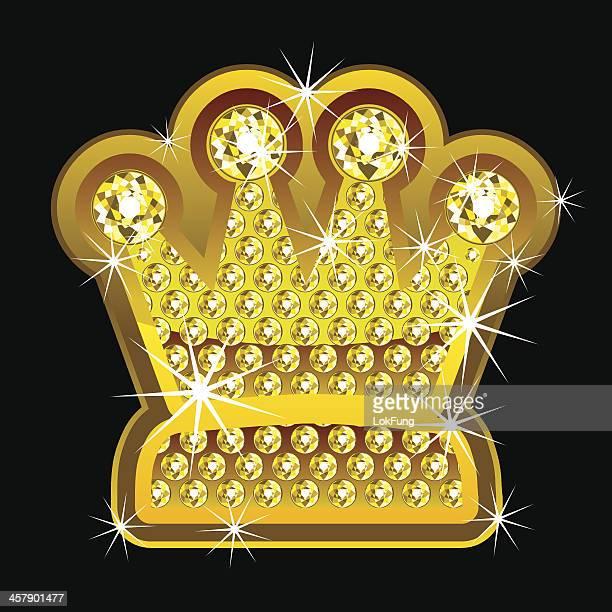 yellow shining crown with diamonds - bling bling stock illustrations, clip art, cartoons, & icons