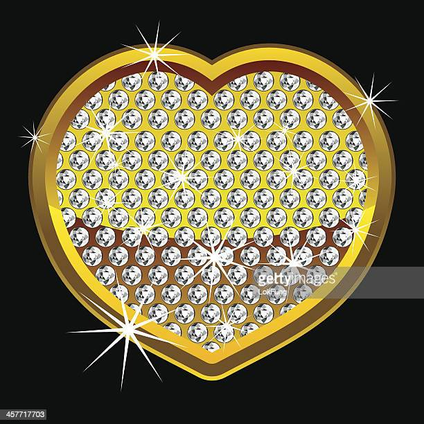 yellow shining heart with diamonds - bling bling stock illustrations, clip art, cartoons, & icons