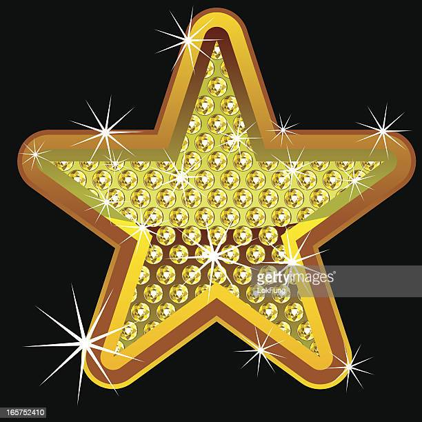 yellow shining star with diamonds - bling bling stock illustrations, clip art, cartoons, & icons