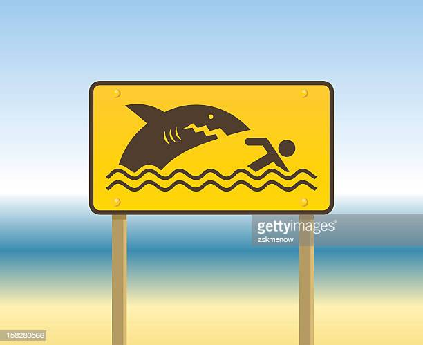 a yellow sign at the beach meaning beware of sharks - diving flipper stock illustrations, clip art, cartoons, & icons