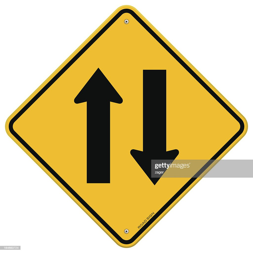 Yellow Sign Directional Arrows