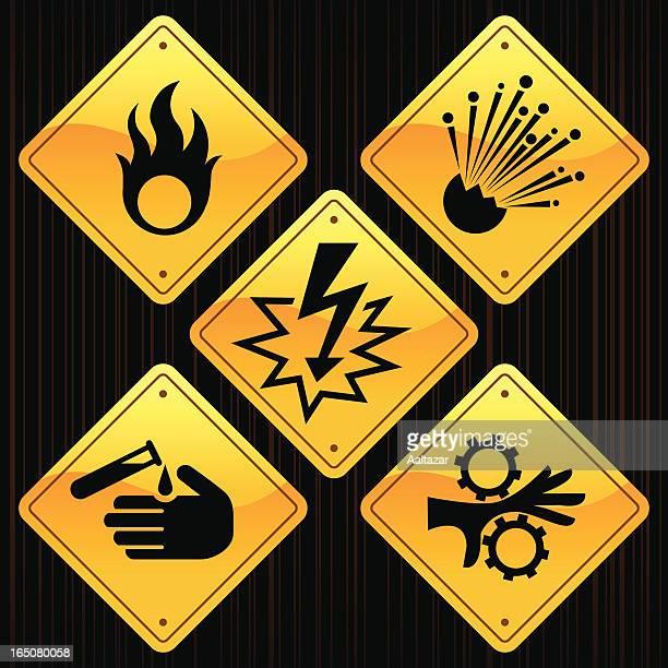 ilustraciones, imágenes clip art, dibujos animados e iconos de stock de amarillo señales de peligro - stealth