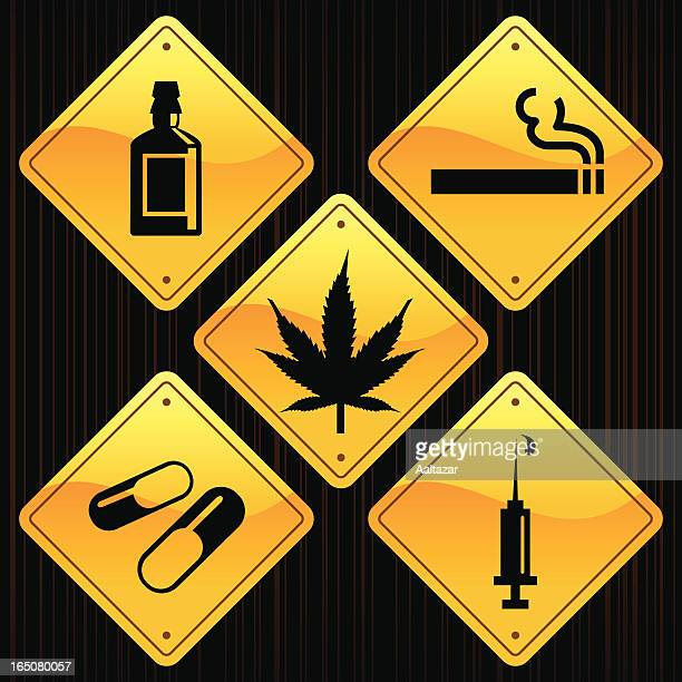 yellow signs - drugs - cognac brandy stock illustrations, clip art, cartoons, & icons