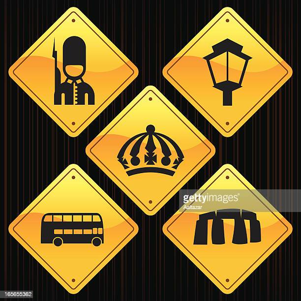 yellow signs - england - megalith stock illustrations, clip art, cartoons, & icons