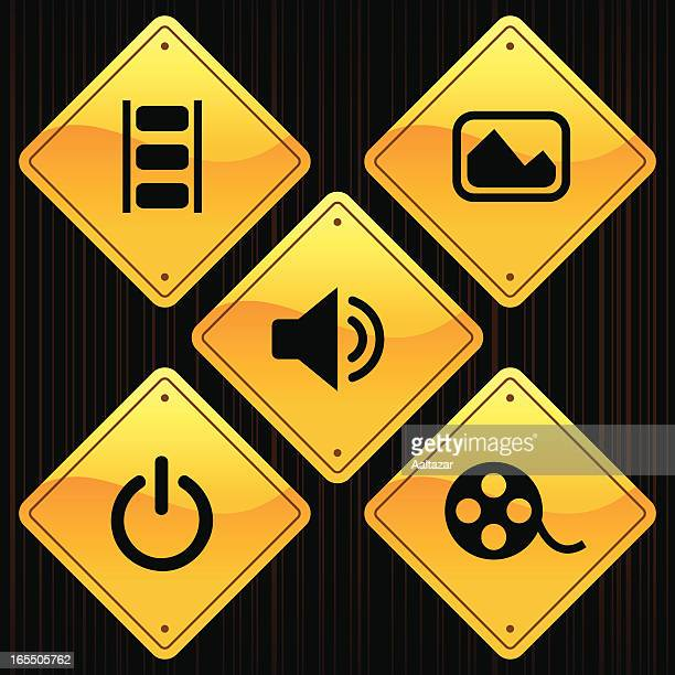 yellow signs - media - audio equipment stock illustrations, clip art, cartoons, & icons