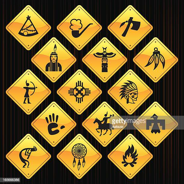 yellow signs - native american - cherokee culture stock illustrations, clip art, cartoons, & icons