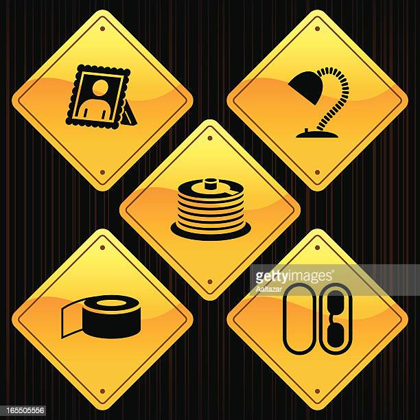 yellow signs - office - scotch whiskey stock illustrations, clip art, cartoons, & icons
