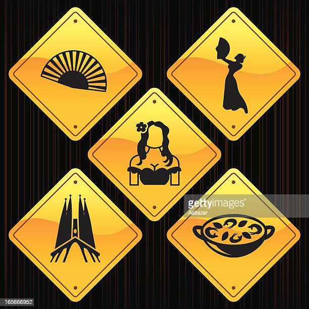 yellow signs - spain - spanish dancer stock illustrations, clip art, cartoons, & icons