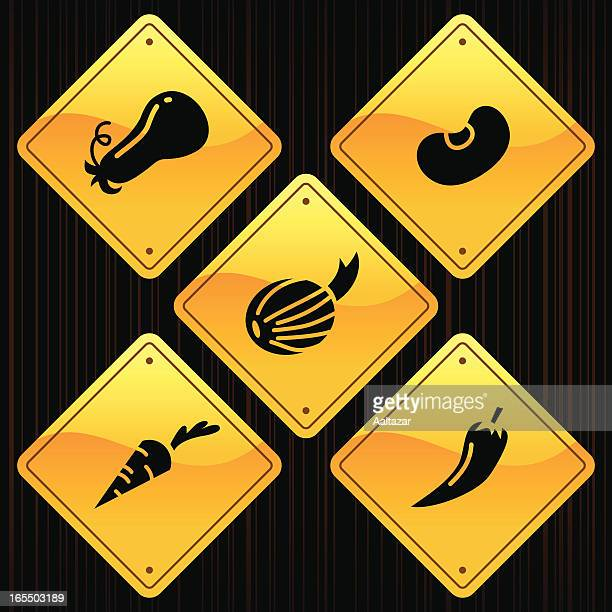 yellow signs - vegetables - marrom stock illustrations