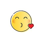 Yellow Smiling Cartoon Face Blowing Kiss Positive People Emotion Icon