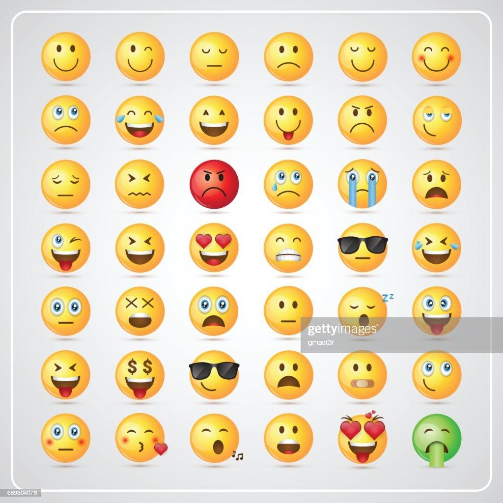 Yellow Smiling Cartoon Face People Emotion Icon Set