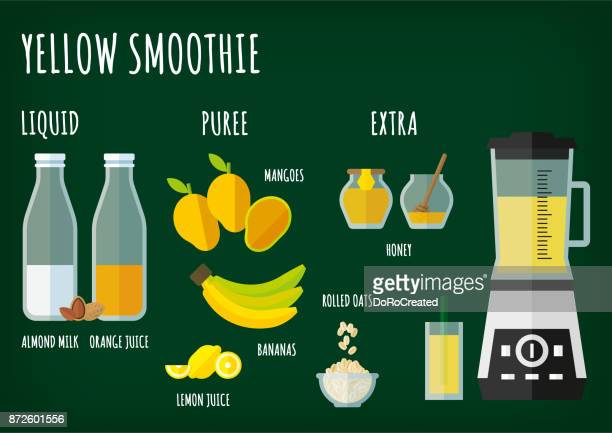 yellow smoothie - fruit juice stock illustrations, clip art, cartoons, & icons
