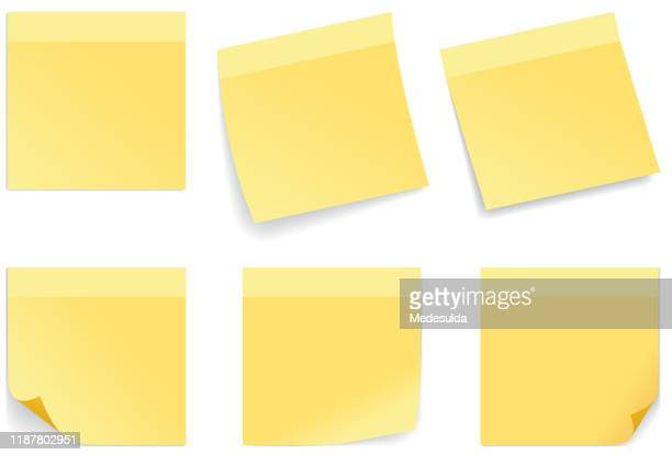 yellow stick note - adhesive note stock illustrations