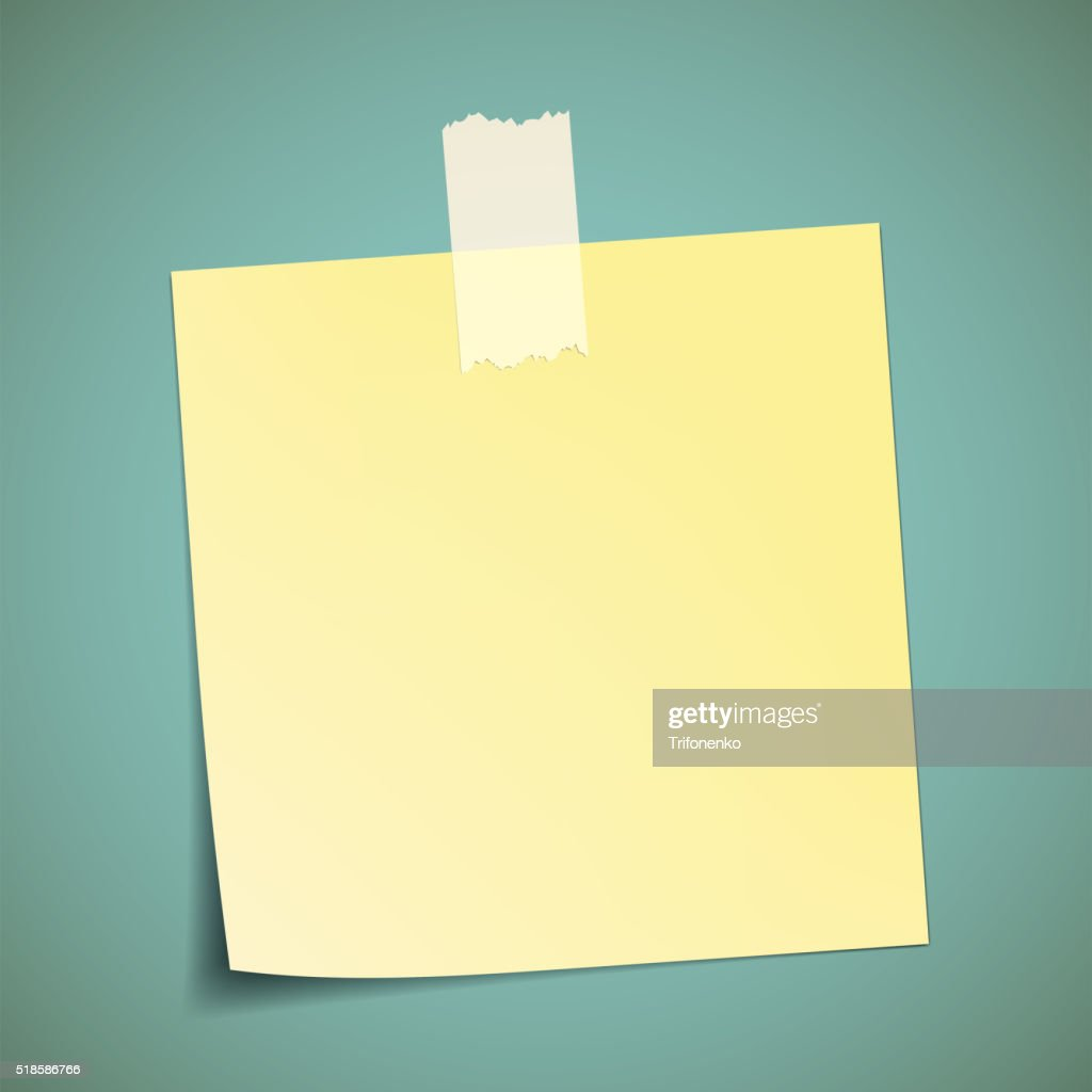 Yellow Sticker Pasted To The Wall With Adhesive Tape Vector Art ...