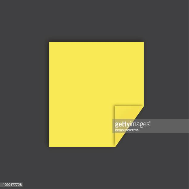yellow sticker - folded stock illustrations