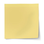 Yellow sticky note isolated on white background. Raster version illustration.