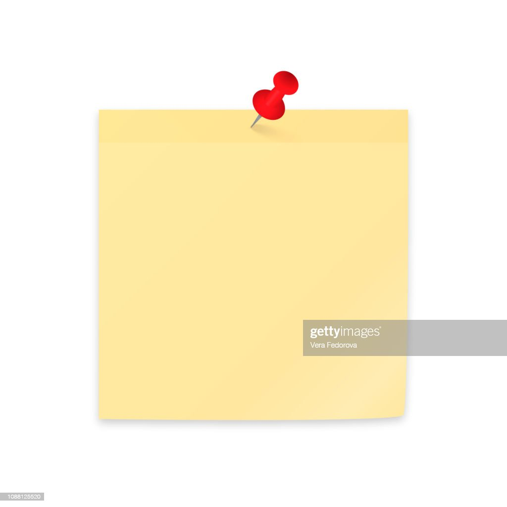 Yellow sticky note paper clipping with red push pin. Empty sticker and pushpin isolated on white. Stationery vector illustration.