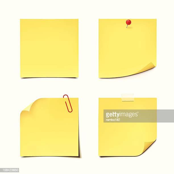 gelbe klebezettel auf weißem hintergrund - gelb stock-grafiken, -clipart, -cartoons und -symbole