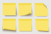 Yellow sticky notes. Vector set on tranparent background.