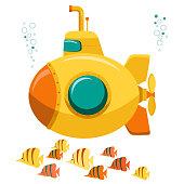 Yellow Submarine undersea. Vector