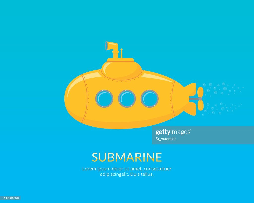 Yellow submarine with periscope swimming underwater.