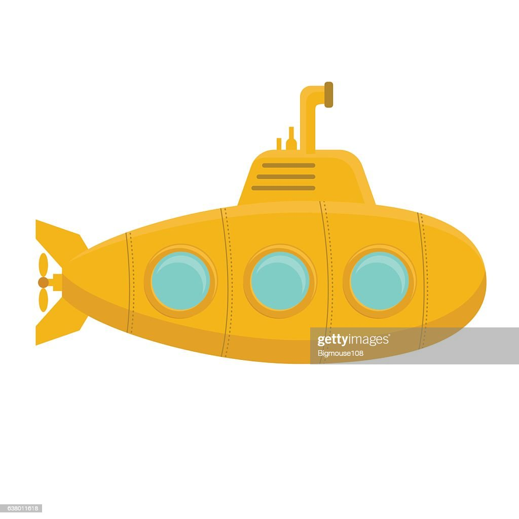 Yellow Submarine with Periscope. Vector
