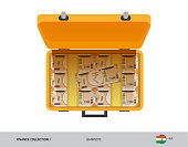 Yellow suitcase with 200 Indian Rupee Banknotes. Flat style vector illustration. Salary payout or corruption concept.