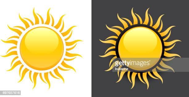 Gelbe Sommer Sonne Vektor Icon auf schwarzen und weißen Hintergrund.