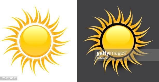 gelbe sommer sonne vektor icon auf schwarzen und weißen hintergrund. - corona sun stock-grafiken, -clipart, -cartoons und -symbole