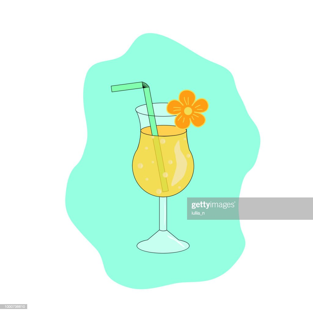 Yellow summer tropical cocktail with bubbles in glass, decorated with flower and straw, vector