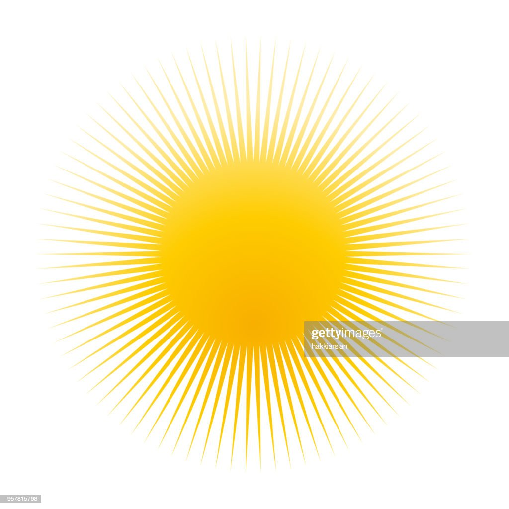 Yellow sun icon, clip-art, symbol, isolated on white background.