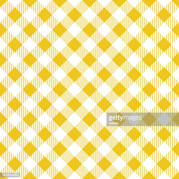 yellow tablecloth argyle pattern - menu background stock illustrations