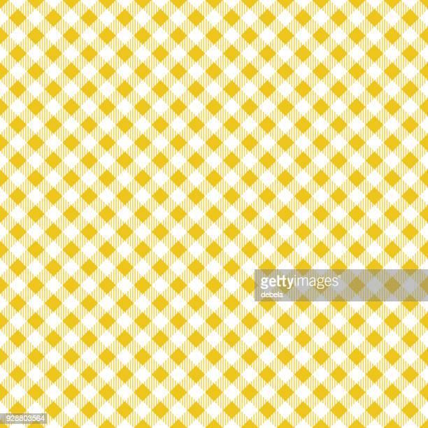 黄色いテーブル クロス アーガイル柄 - ギンガムチェック点のイラスト素材/クリップアート素材/マンガ素材/アイコン素材