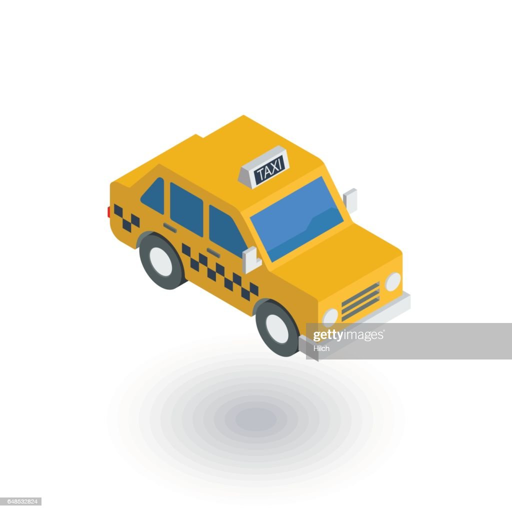 Yellow taxi car isometric flat icon. 3d vector