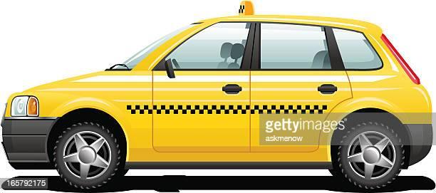 ilustraciones, imágenes clip art, dibujos animados e iconos de stock de taxi amarillo - taxista