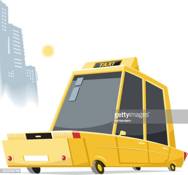yellow taxi - yellow taxi stock illustrations, clip art, cartoons, & icons